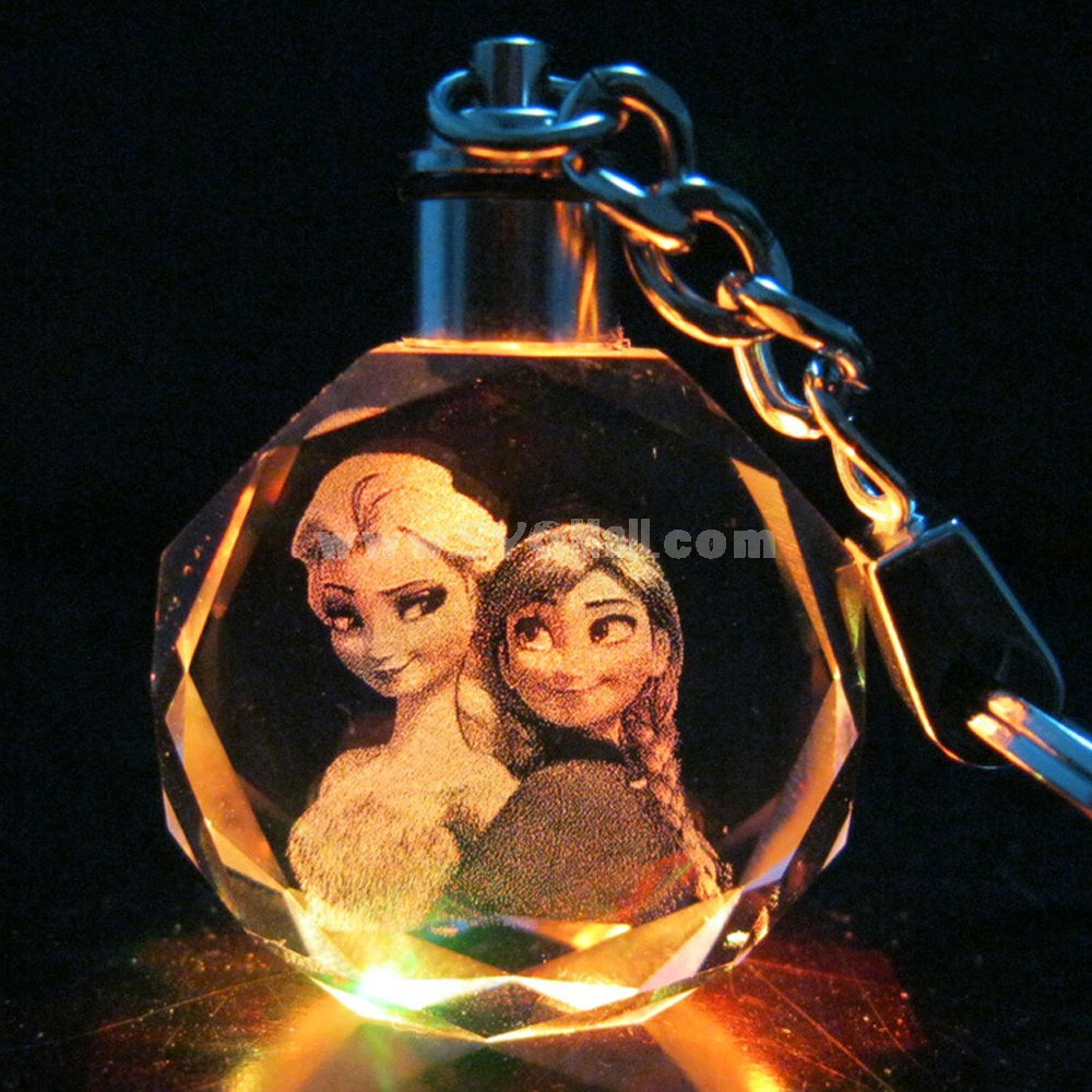 Frozen Princess Colorful Crystal Pendant Key Chain Cellphone Pendant -- Elsa and Anna