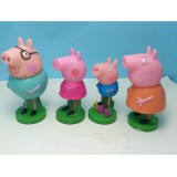 wholesale - 4Pcs Set Peppa Pig PVC Action Figure Toys with Stamp