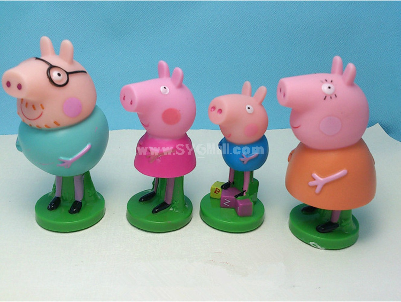 Peppa Pig Figures Toys Vinyl Toys with Standing Board 4pcs/Lot 3.0-3.7inch