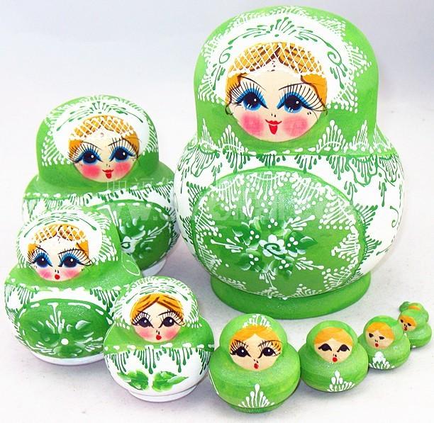 10pcs Russian Nesting Doll Handmade Wooden Doll Pot-bellied Doll