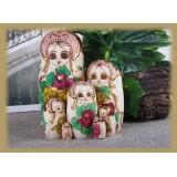 Wholesale - 7pcs Wooden Russian Nesting Doll Toy Handmade Wishing Dolls