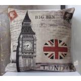 "Wholesale - Retro London Union Jack Big Ben Linen Square Cushion Covers No Inner 45*45cm/18"" * 18"""
