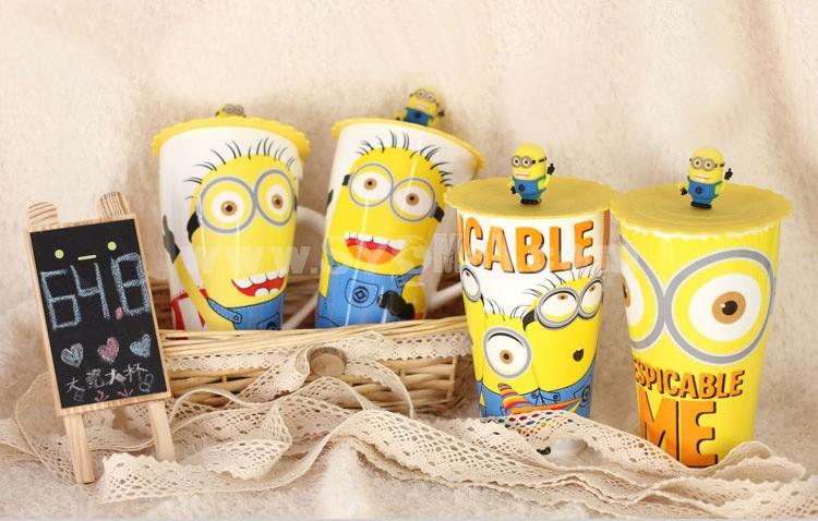 Cute Minions Figures Ceremic Cup Coffee Mug with Cover
