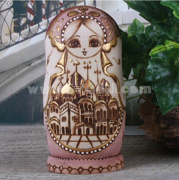 7pcs Wooden Wooden Russian Nesting Doll Toy Russian Doll Handmade Wishing Dolls -- Pink