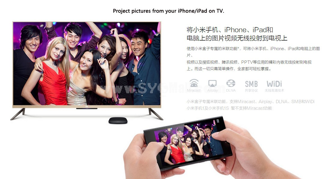 2nd Generation XIAOMI Box (小米盒子) HD Internet TV Set Top Box 2GHz Enhanced Edition 4K (3840*2160) Resolution (Airplay/DLNA/XBMC)