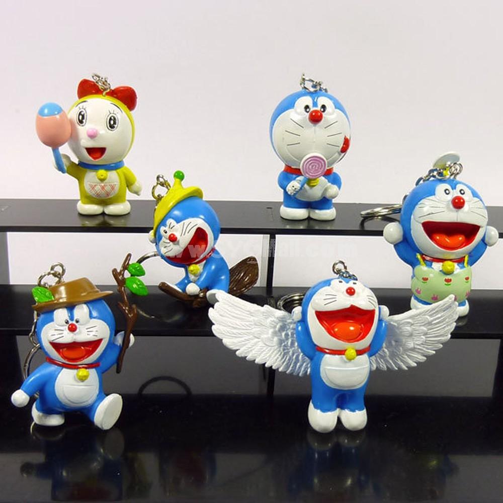 Doraemon Figures Toys Key Chains 6pcs/Lot 5cm/2.0inch