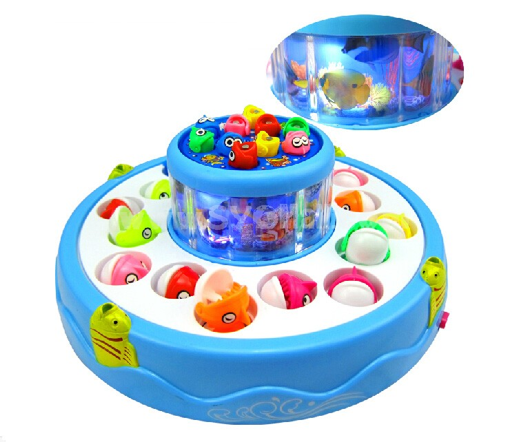 Electronic Double-layer Rotating Fishing Toy Set -- Round Disk