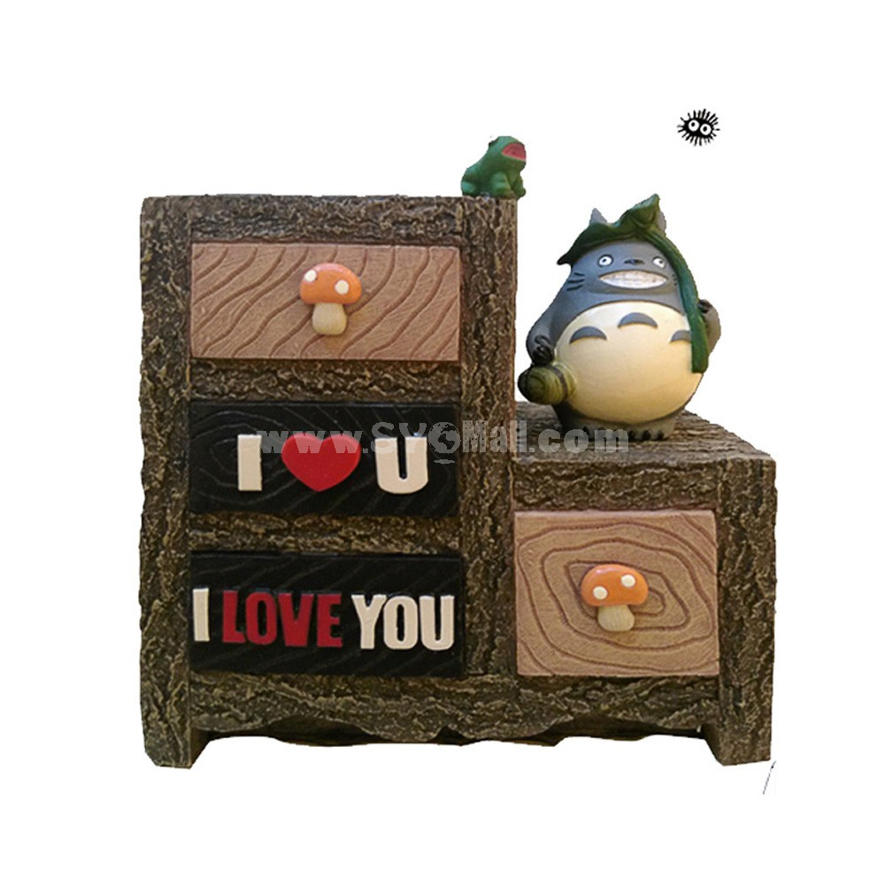 Love Totoro Figure Toy Piggy Bank Money Box Storage Box -- Green Leaf