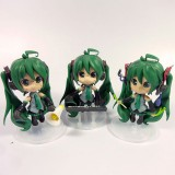 Wholesale - Green Hair Hatsune Miku Figure Toys with Standing Board 3pcs/Lot 10cm/3.9inch