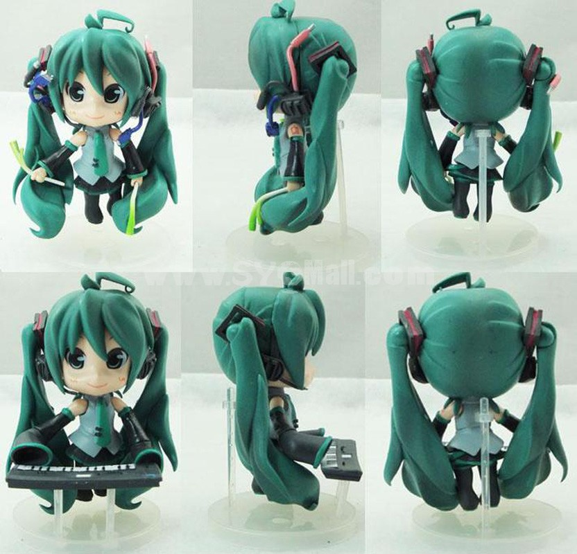 Green Hair Hatsune Miku Figure Toys with Standing Board 3pcs/Lot 10cm/3.9inch