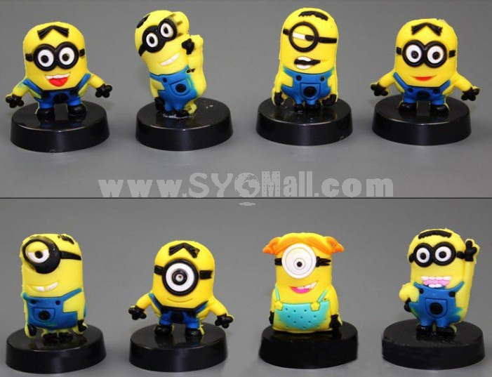 Minions Despicable Me Figures Toys with Black Standing Board 8pcs/Lot 1.2-2.0inch