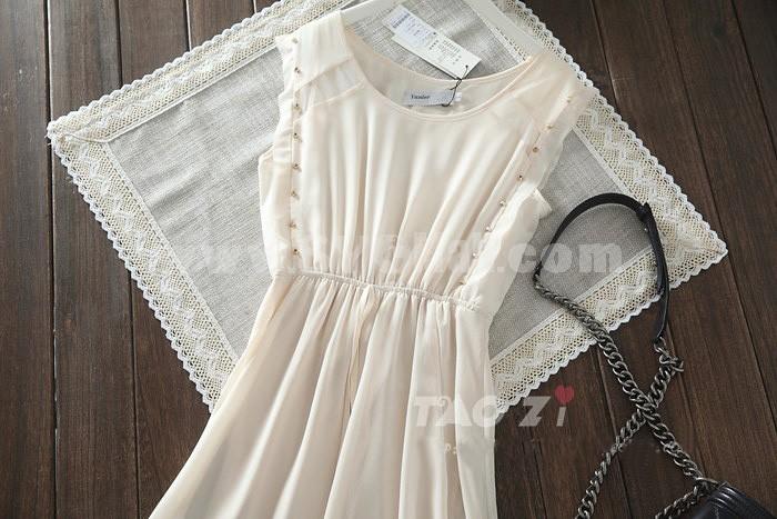 Chiffon Rivet Decoration Irregular Hemline Sleeveless Dress