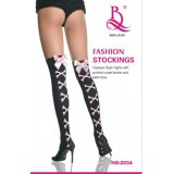 Lady Sexy Stockings with Printed Cross Bones and Satin Bowknot 2034