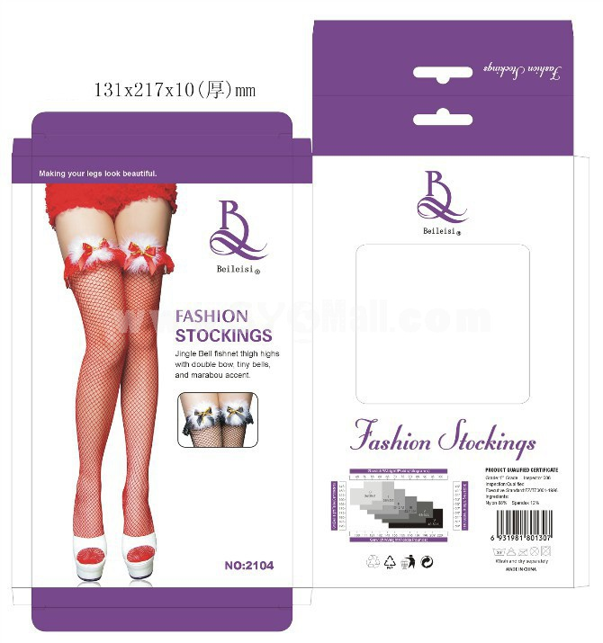 Lady Sexy Stockings Red Fishnet Stockings with Bowknot