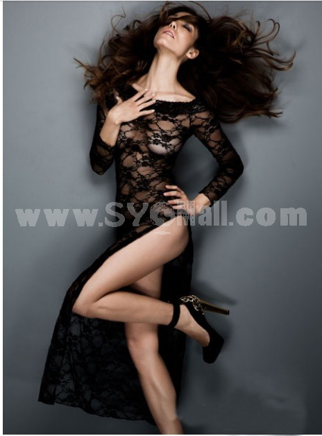 Lady Sexy Lingerie Set with G-string Black Long Lace Dress Nightwear 3046