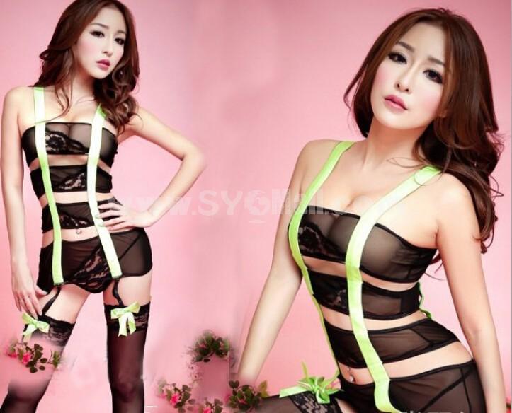 Lady Sexy Lingerie Set with Garter-belt Bandage One-piece Nightwear 3023