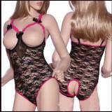 Lady Sexy Lingerie Black Lace Breast One-piece Nightwear 3010