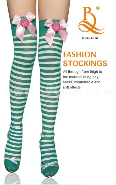 Sexy Stockings Bowknot Stripes Pattern Thigh Stockings 2082