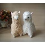 Wholesale - Cute Alpaca Plush Toy Llama Stuffed Animal Kids Doll 23cm/9inch 2pcs/Lot White and Creamy Yellow