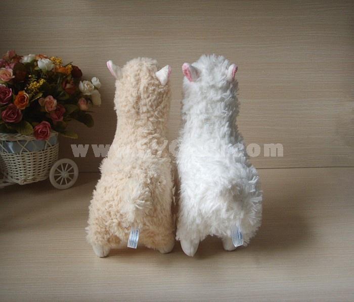 Cute Alpaca Plush Toy Llama Stuffed Animal Kids Doll 23cm/9inch 2pcs/Lot White and Creamy Yellow