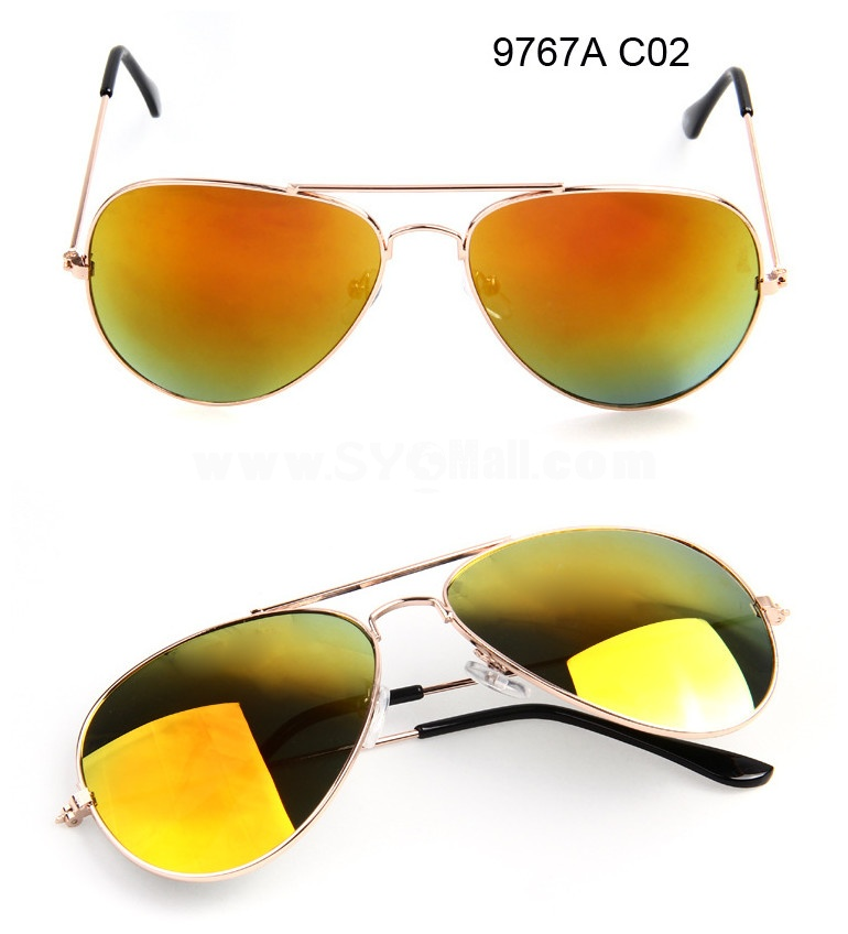 Retro Mirror Aviator Sunglasses with Spectacle Case 9767A