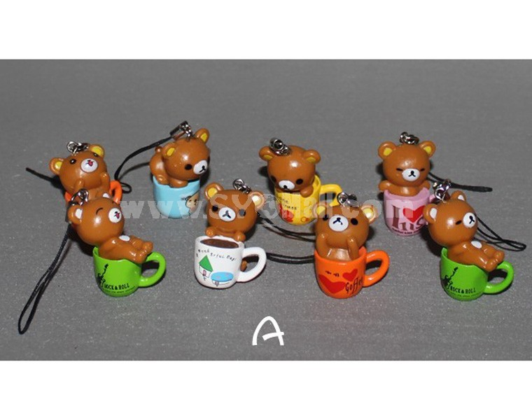 "Brown Rilakkuma Figures Toys Pendants 4cm/1.6"" 8pcs/Kit"