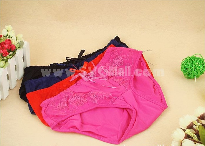 Lady Middle Waist Solid Color Emboidery Underwear (2931K)