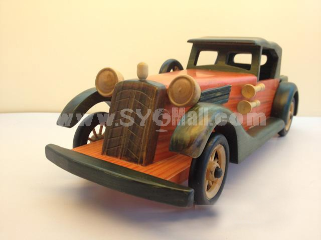 Handmade Wooden Decorative Home Accessory Vintage Car Classic Car Model 2002
