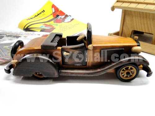 Handmade Wooden Decorative Home Accessory Roadster with Metal Decoration Vintage Car Classic Car Model 2009