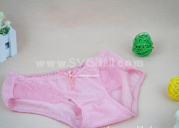 Lady Cotton Solid Color Emboidery Underwear (5686K)