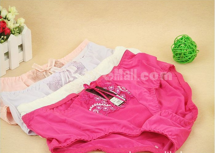 Lady Cotton Solid Color Emboidery Underwear (2622K)