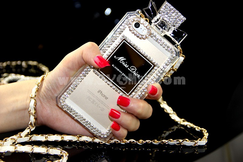MD Rhinestone Perfume Bottle Design Cellphone Case with Chain Protective Cover for iPhone 5/5S