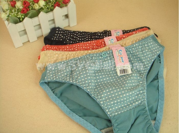Lady Cotton Solid Color Emboidery Underwear (846K)