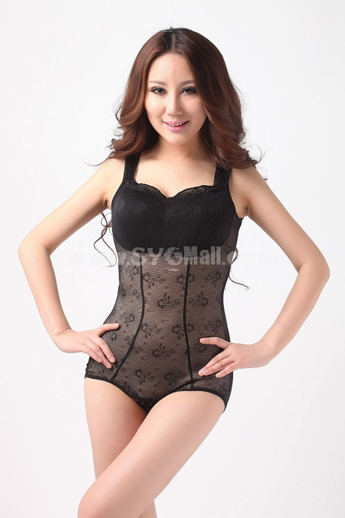 Lady Thin Tummy Control Breast Shaping Black Shapewear Corset 8018