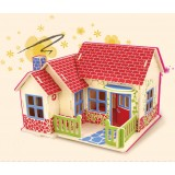 Wholesale - DIY Wooden 3D Jigsaw Puzzle Model Colorful House F302
