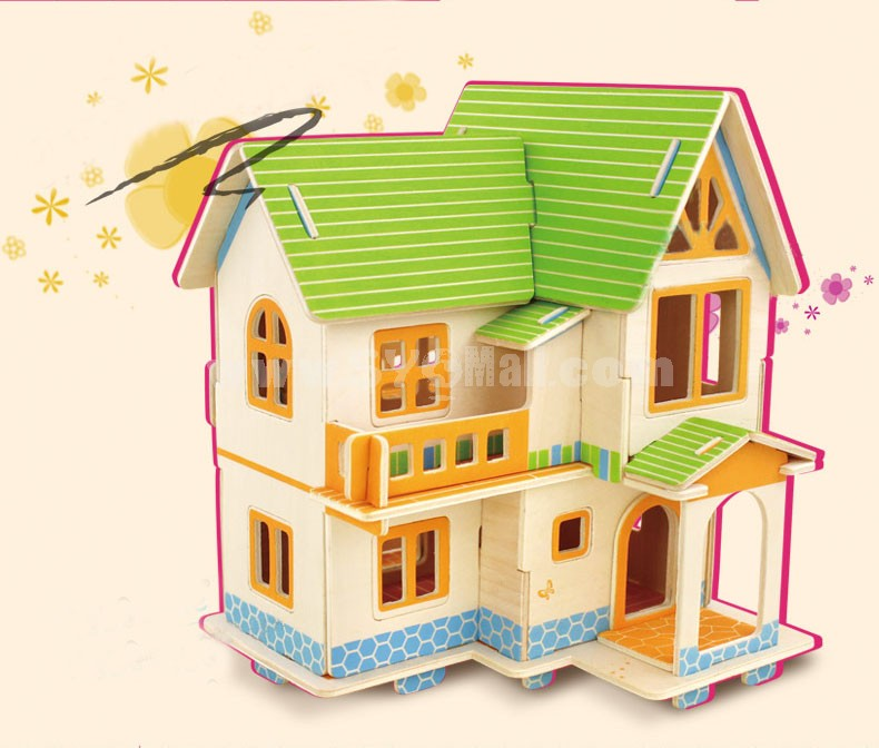 DIY Wooden 3D Jigsaw Puzzle Model Colorful House F402