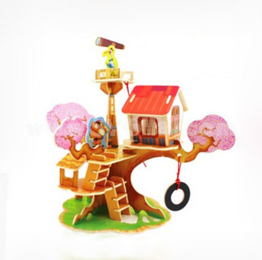 DIY Wooden 3D Jigsaw Puzzle Model Colorful House F110