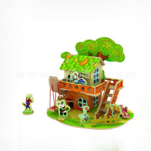DIY Wooden 3D Jigsaw Puzzle Model Colorful House F102
