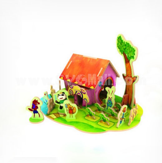 DIY Wooden 3D Jigsaw Puzzle Model Colorful House F101