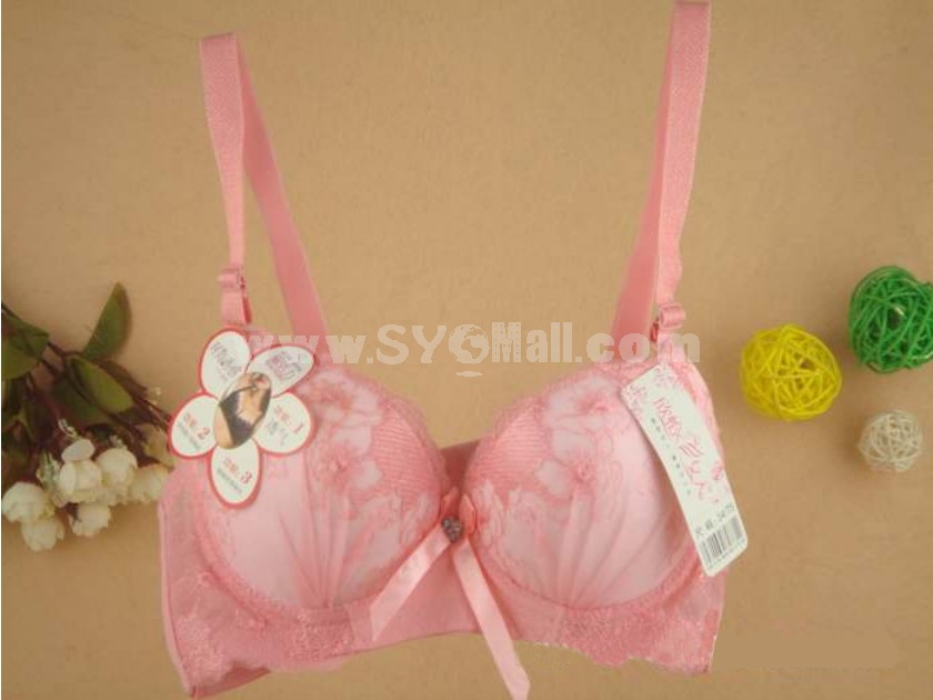 Sexy Lace Gather Together Embodidery Thick Bra (8863)