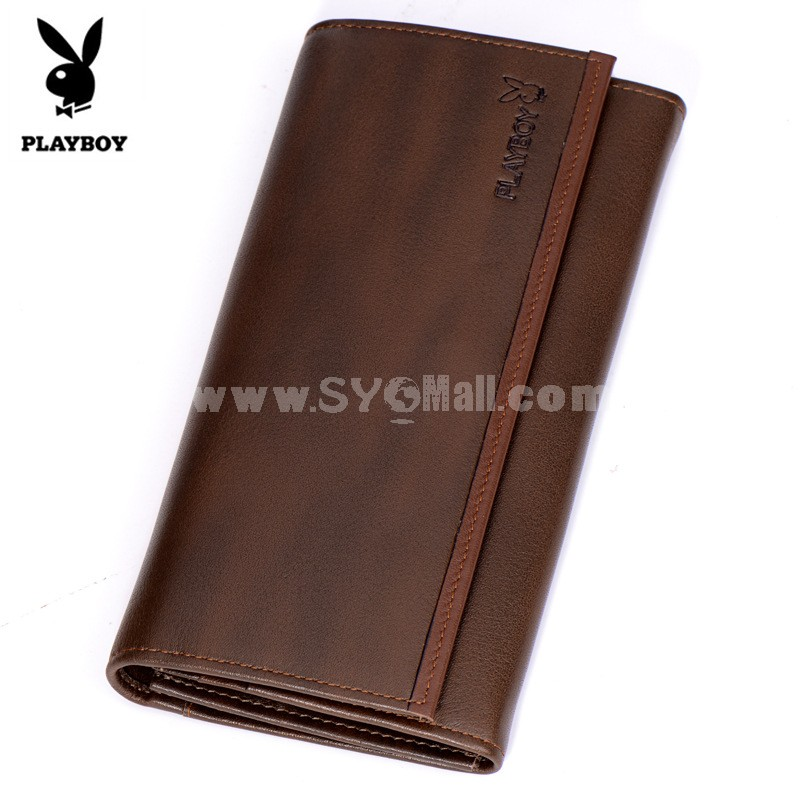 Play Boy Men's Long Leather Wallet Purse Notecase PAA5201-3C