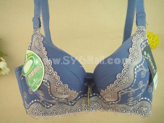 Women Sexy Adjustable Flower Print Underwire Thick Bra (1303)