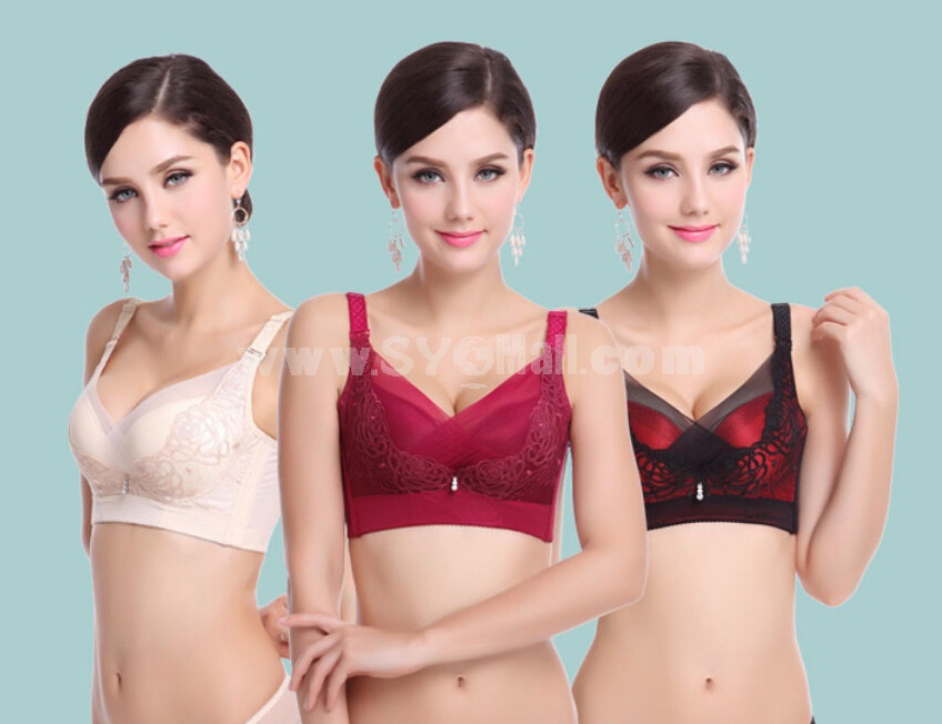 Lace Embroidery Adjustable Deep V Extra Gather & Push up Bra