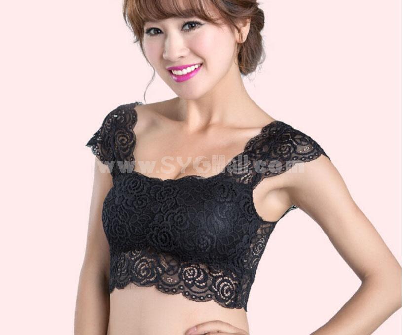 Lace Flora Abti-emptied Boob Tube Top Adjustable Push up Bra