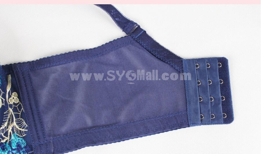 Flora Embroidery Summer Thin  Adjustable Deep V Extra Gather & Push up Bra