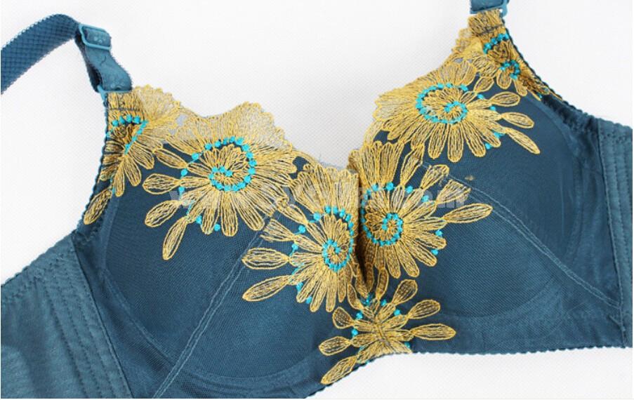 Flora Embroidery Adjustable Deep V Extra Gather & Push up Bra