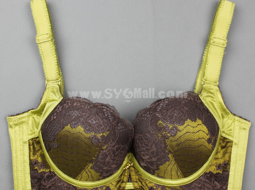 Embroidery Lace Adjustable Deep V Extra Gather & Push up Bra