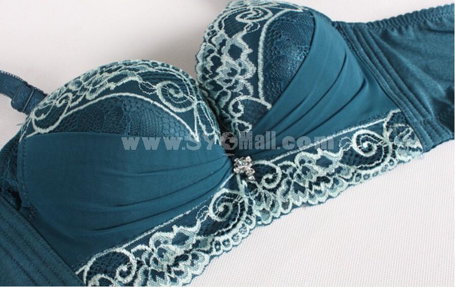 Lace Thickened Elegant Adjustable Deep V Extra Gather & Push up Bra