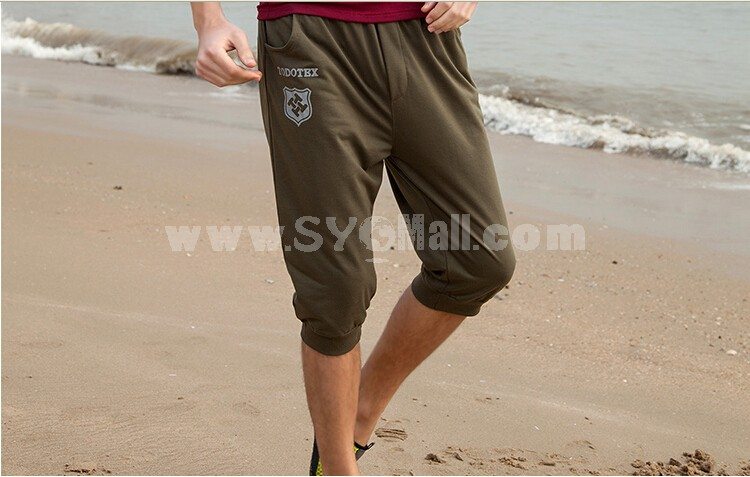 Men Casual Slim Summer Cropped Trousers Sport Pants Yoga Pants