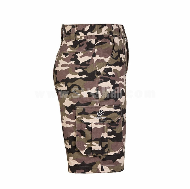 Men Casual Shorts 100% Cotton Summer Camouflage Fifth Pants Sport Pants PS4027